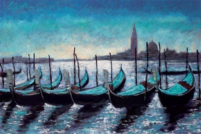 Gondola's at Rest by Timmy Mallett - Hand Finished Limited Edition on Canvas sized 28x18 inches. Available from Whitewall Galleries